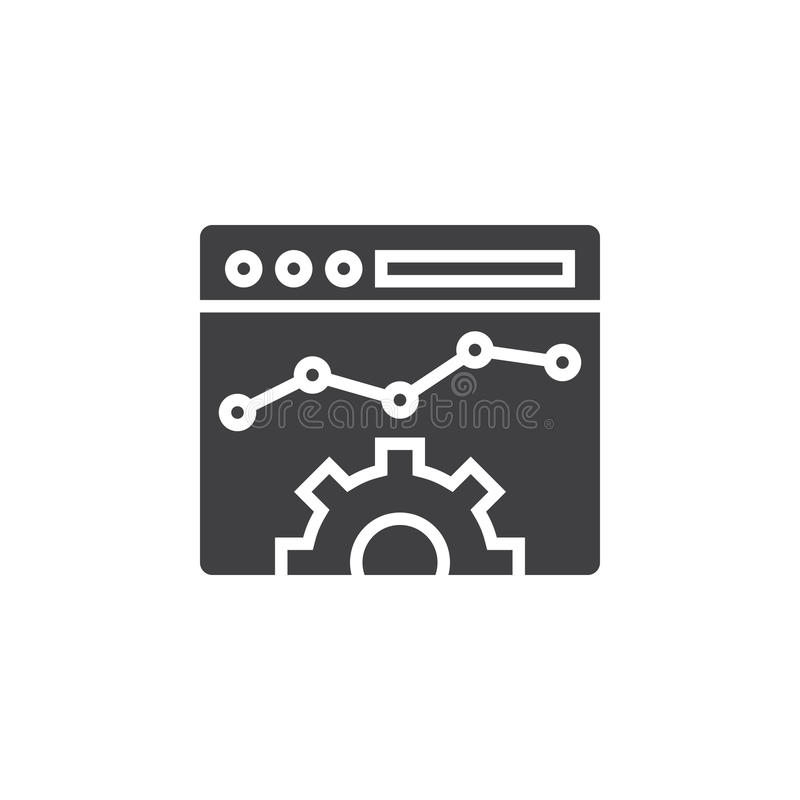 Strony internetowej Optimisation ikony wektor, wypełniający mieszkanie znak, stały pictog royalty ilustracja