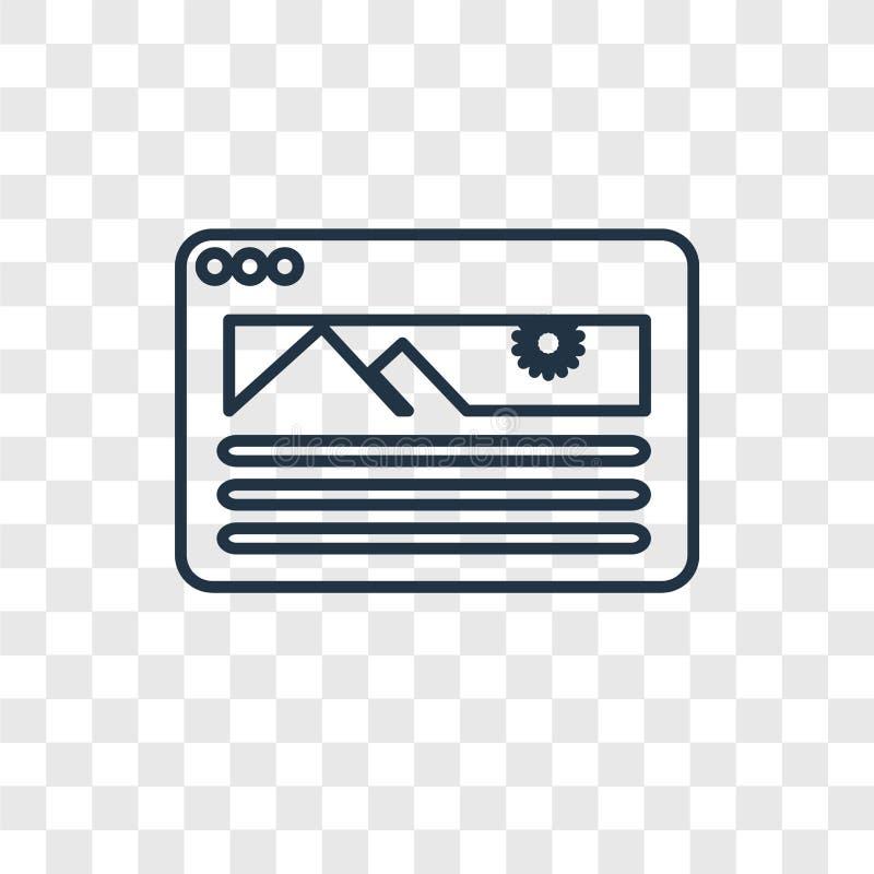 Strony internetowej pojęcia wektorowa liniowa ikona odizolowywająca na przejrzystym backg ilustracji