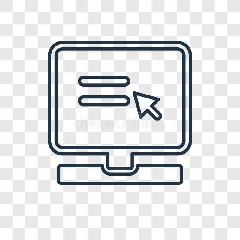 Strony internetowej pojęcia wektorowa liniowa ikona odizolowywająca na przejrzystym backg royalty ilustracja