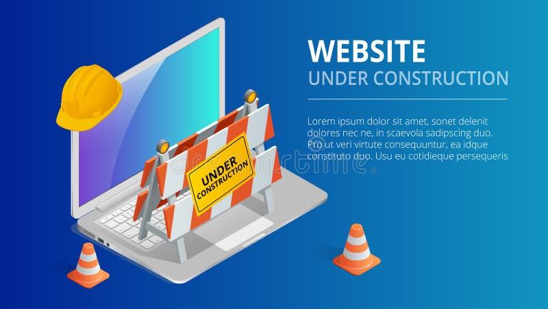 Strony internetowej strony tła wektoru w budowie ilustracja Płaska isometric stylowa wektorowa ilustracja royalty ilustracja