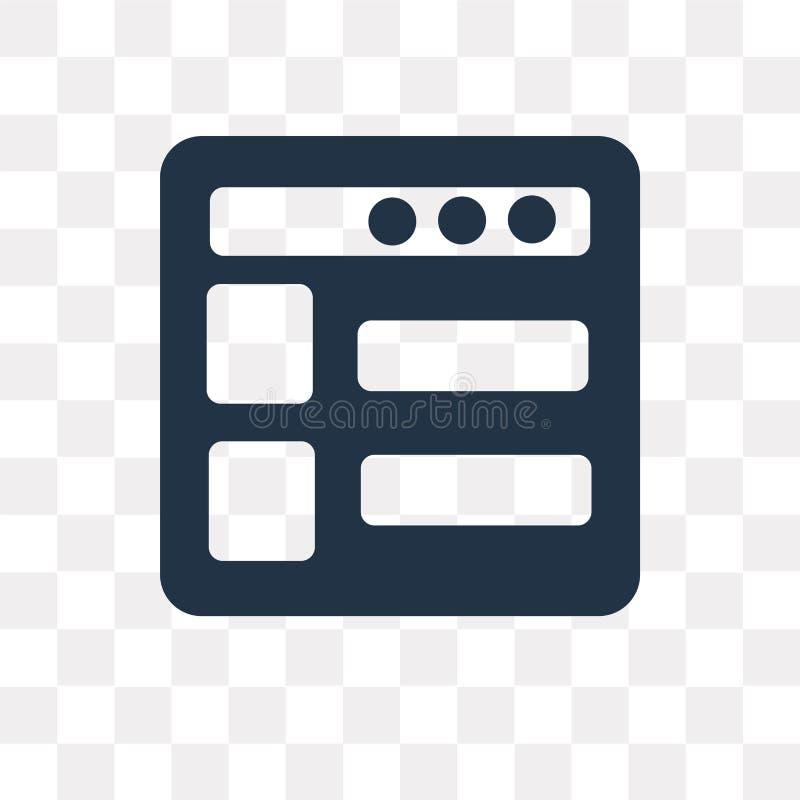 Strony internetowej wektorowa ikona odizolowywająca na przejrzystym tle, strona internetowa royalty ilustracja