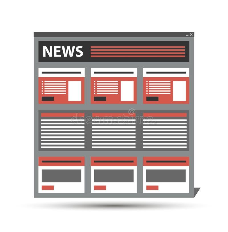 Strony internetowej wiadomość, gazeta, czasopismo szablon w wyszukiwarki okno, wektor eps10 ilustracji