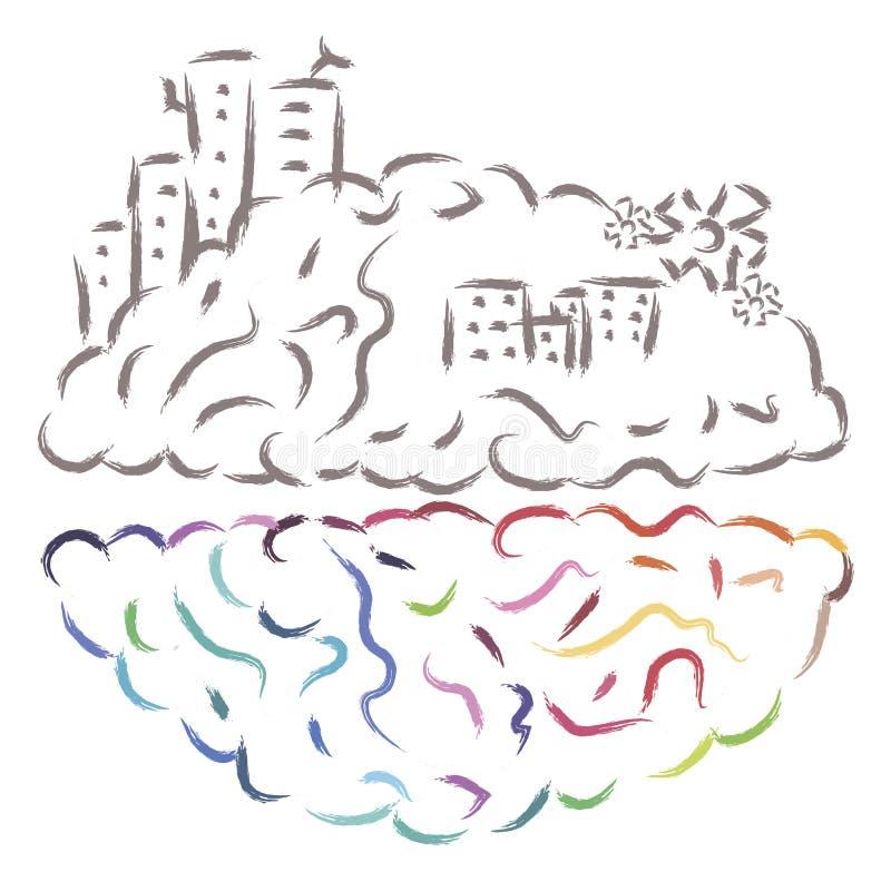Strony móżdżkowej aktywności wektoru ilustracja ilustracja wektor