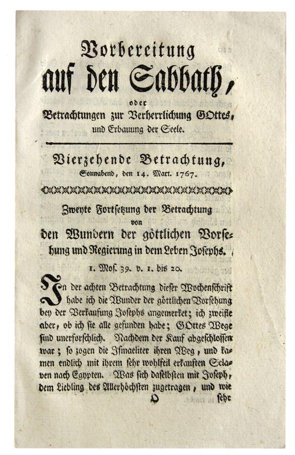 Strony Niemiecka antykwarska gazeta zdjęcia royalty free