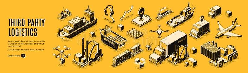 Strony trzeciej logistyka, 3pl, ładunku eksport, import royalty ilustracja