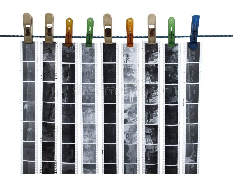 Strook van 35mm film, zwart-wit negatieven stock foto's