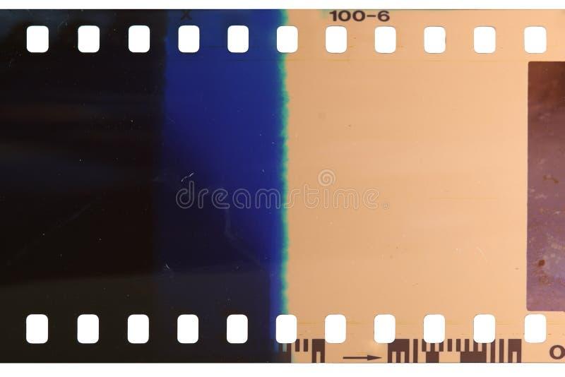 Strook van de slecht blootgestelde en ontwikkelde celluloidfilm stock afbeelding