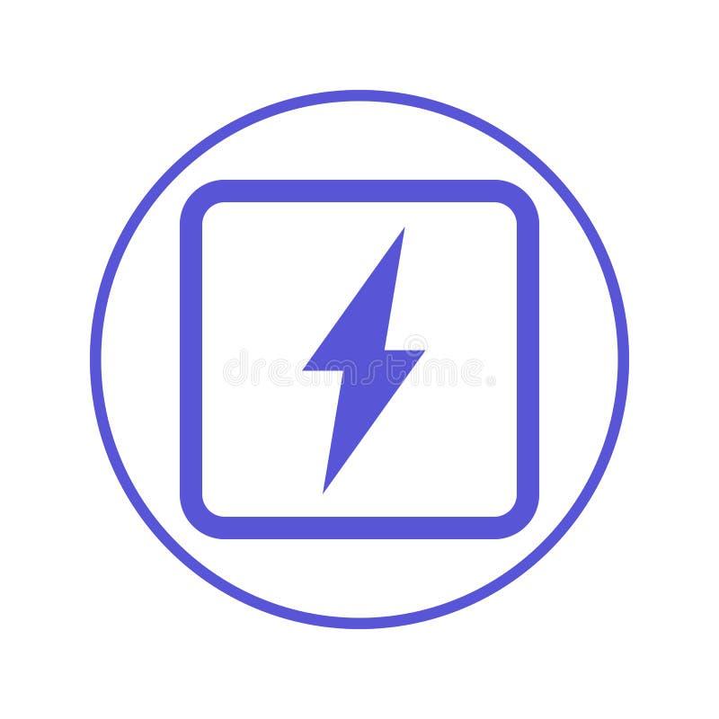 Stroom, cirkel de lijnpictogram van de bliksembout Rond teken Vlak stijl vectorsymbool stock illustratie