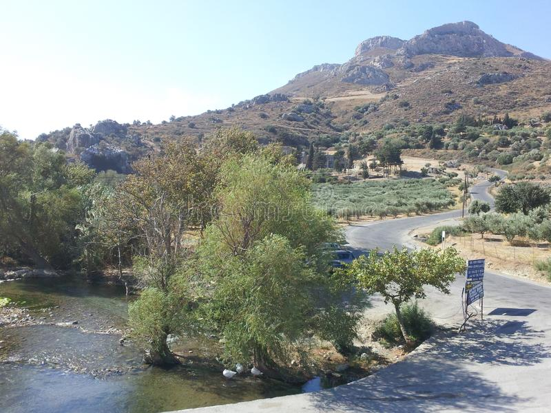 Stroom dichtbij Preveli in Kreta stock afbeeldingen