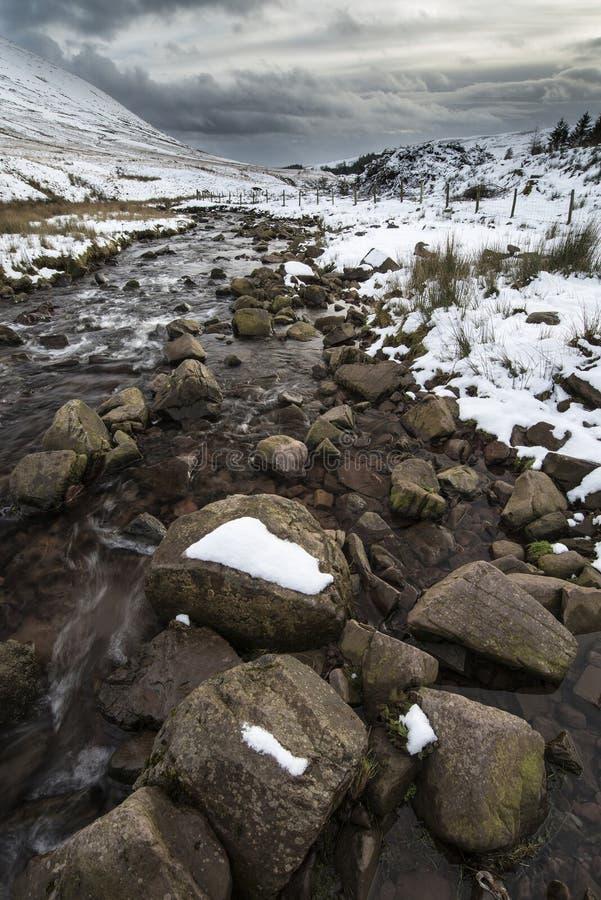 Stroom die door sneeuw behandeld de Winterlandschap vloeien in berg stock afbeelding