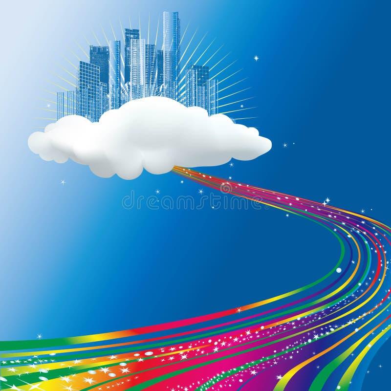 Stroom die van regenboog aan een stad op wolk stroomt royalty-vrije stock afbeeldingen