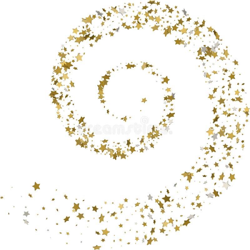 Stroom gouden sterren op een witte achtergrond Vector illustratie stock illustratie