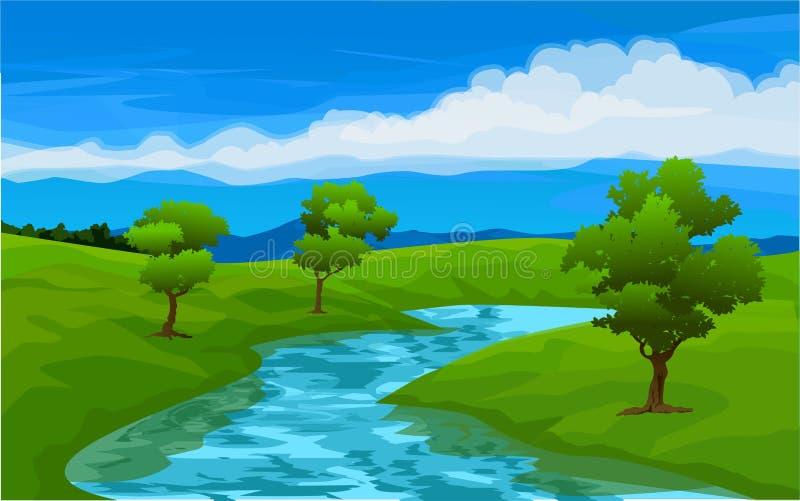 Stroom op groen gebied stock illustratie