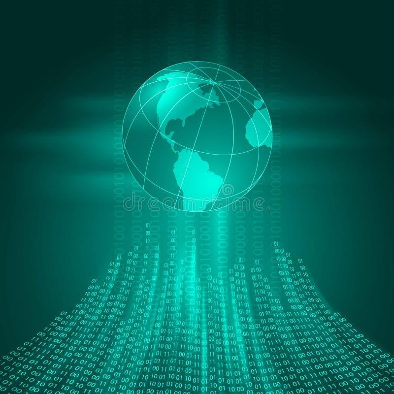 Stroom van binaire code aan de aarde royalty-vrije illustratie