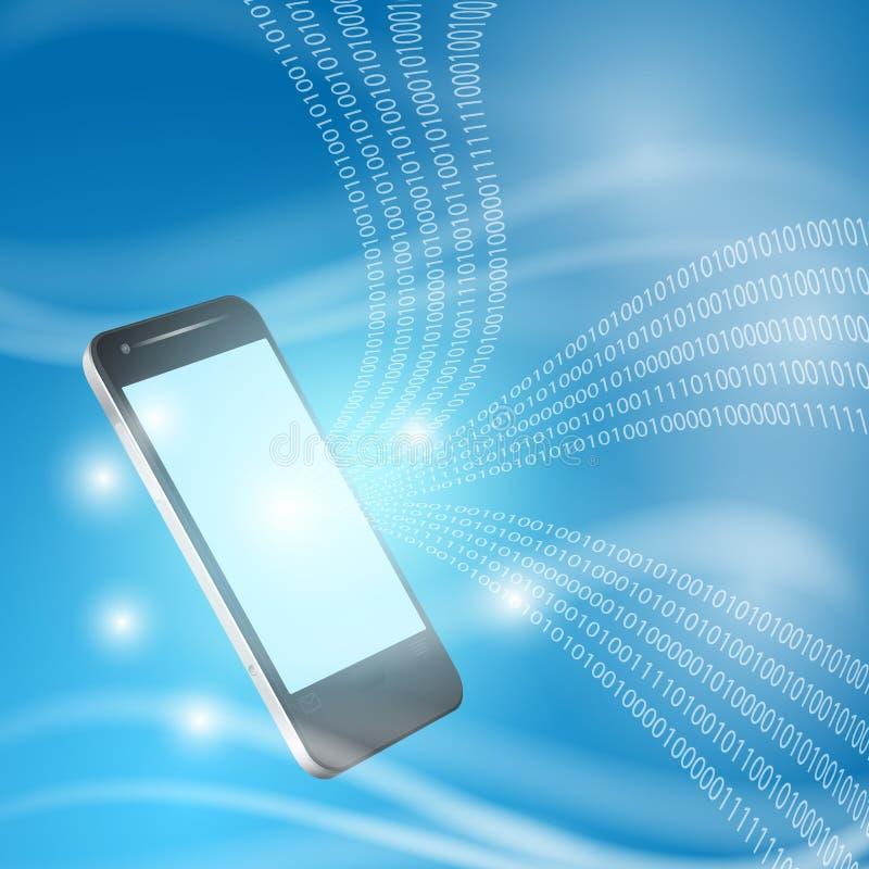 Stroom van binaire code aan mobilofoon stock illustratie