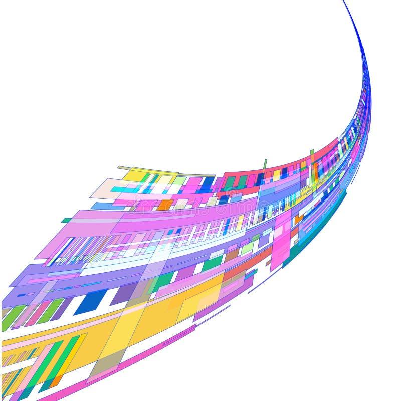 Stroom van gekleurde geometrische vormen op een witte achtergrond royalty-vrije illustratie
