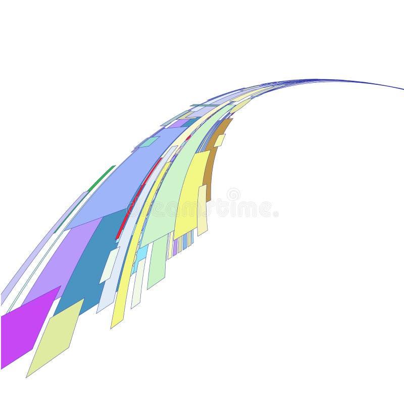 Stroom van gekleurde geometrische vormen op een witte achtergrond vector illustratie