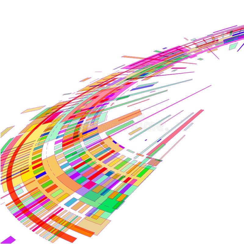 Stroom van gekleurde geometrische vormen op een witte achtergrond stock illustratie