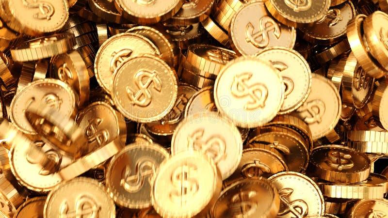 Stroom van gouden muntstukken met dollarteken stock illustratie