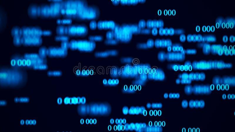 Stroom van nul Digitale matrijs als achtergrond het 3d teruggeven Binaire codeachtergrond programmering Webontwikkelaar stock illustratie