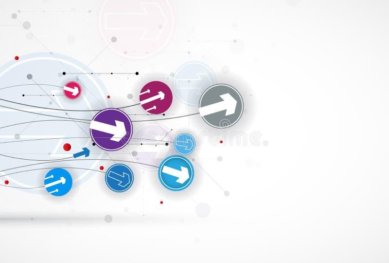 Stroom van pijlen Verbeelding van zaken of technologieproces vector illustratie