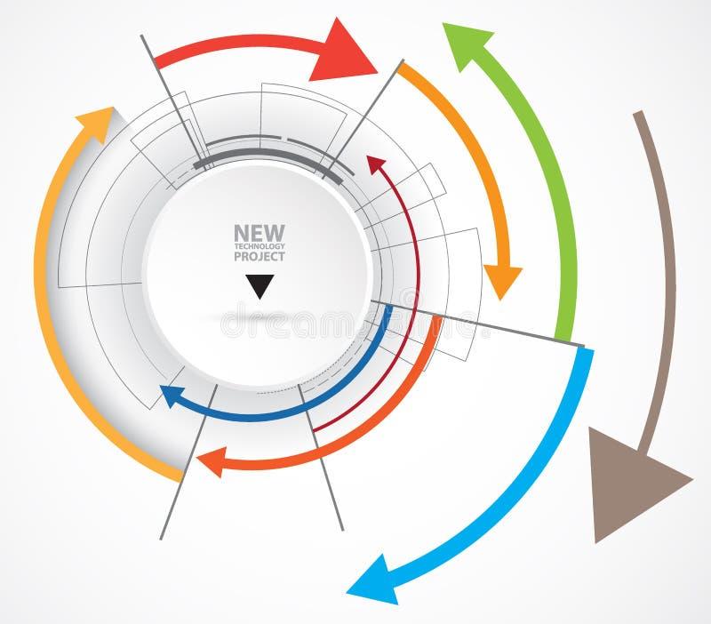 Stroom van pijlen Verbeelding van zaken of technologieproces stock illustratie