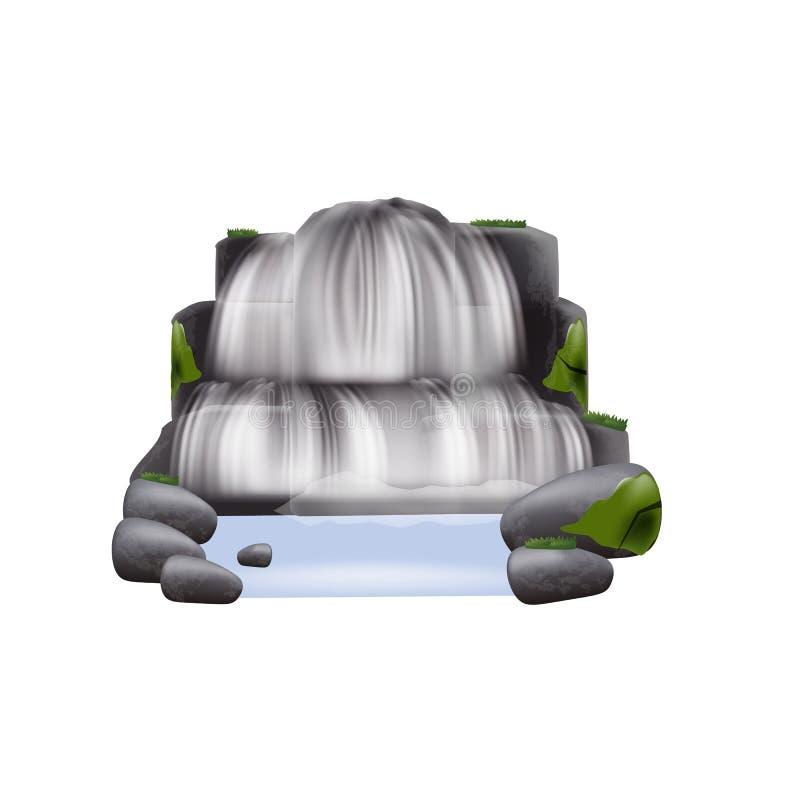 Stroom van rivierwaterval met de vector geïsoleerde illustratie van bergrotsen royalty-vrije illustratie