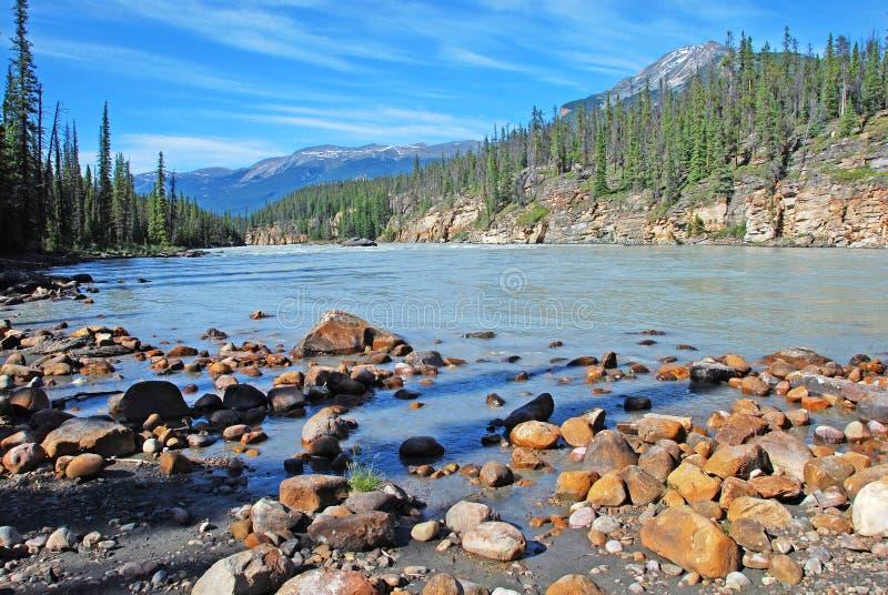 Stroomafwaarts van Dalingen Athabasca royalty-vrije stock afbeeldingen