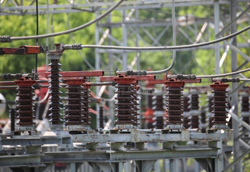 stroomonderbrekers in de elektrische centrale die elektriciteit F produceert royalty-vrije stock fotografie