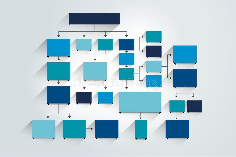 stroomschema Blauwe Gekleurde schaduwenregeling vector illustratie
