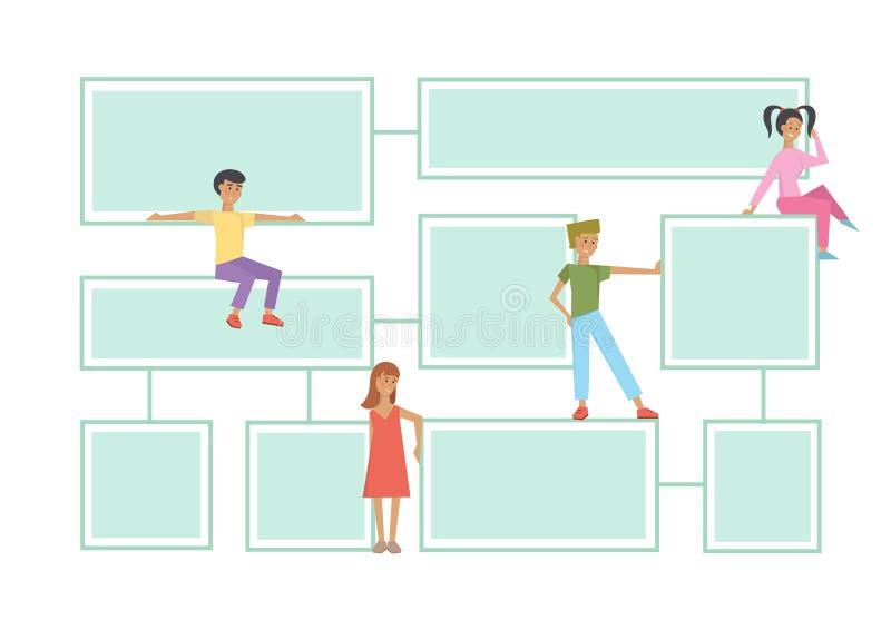 Stroomschema latout met menselijke karakters op een witte achtergrond vector illustratie