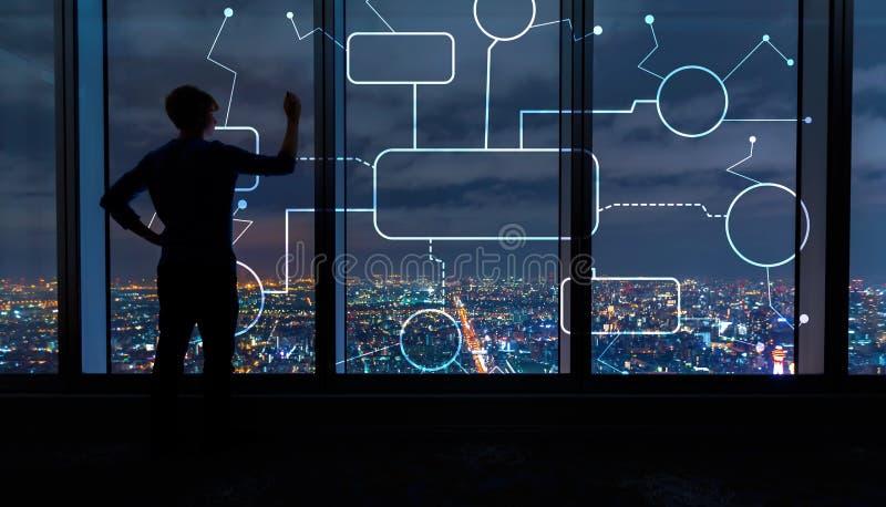 Stroomschema met de mens door grote vensters bij nacht royalty-vrije stock fotografie