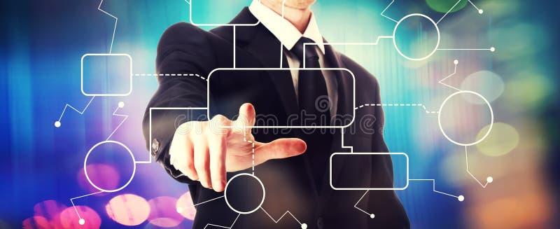 Stroomschema met een zakenman stock afbeelding