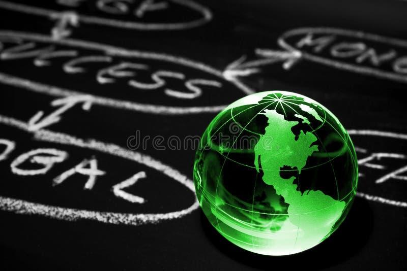 Stroomschema op een schoolbord. De bol van de wereld. royalty-vrije stock afbeelding