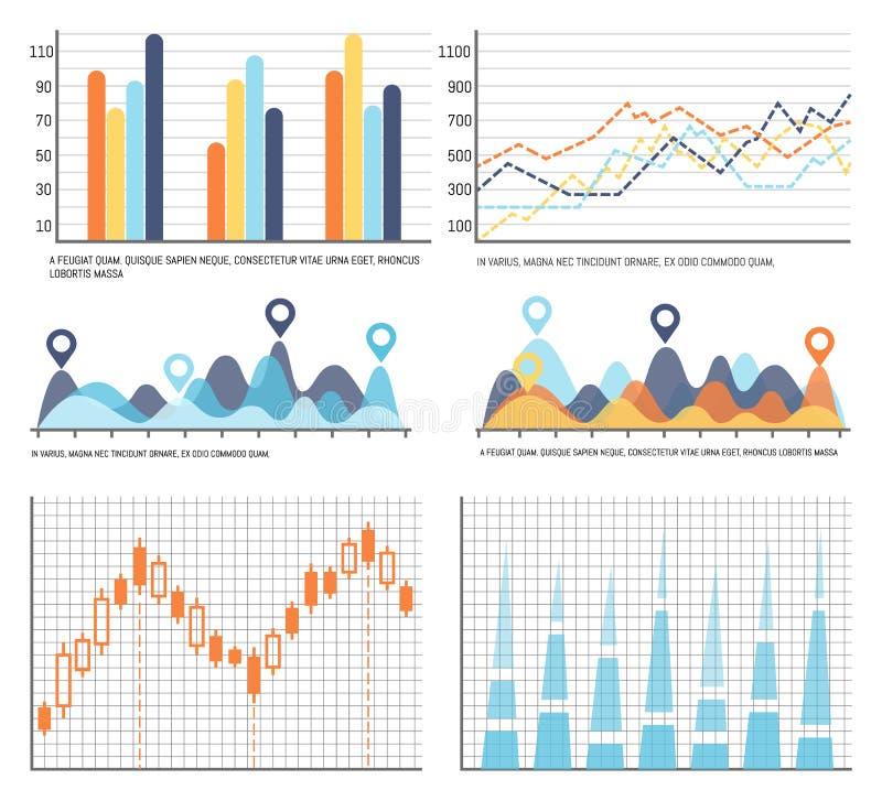 Stroomschema's, Bedrijfsdiagrammen en Grafiekeninformatie royalty-vrije illustratie
