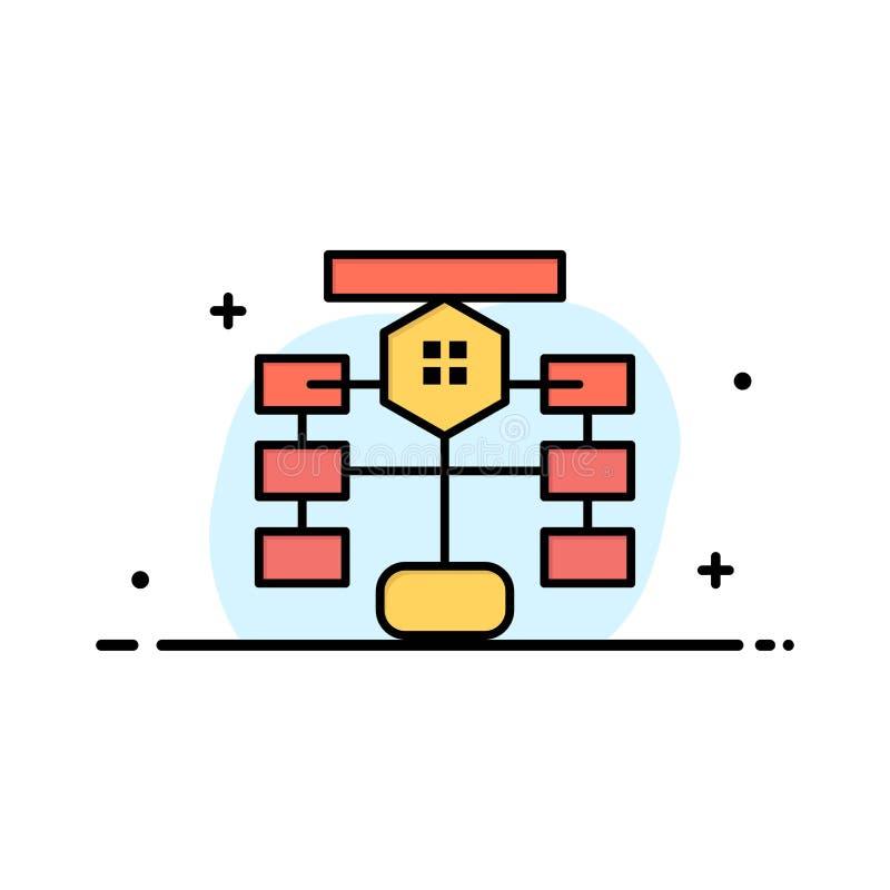 Stroomschema, Stroom, Grafiek, Gegevens, Databasezaken Logo Template vlakke kleur stock illustratie