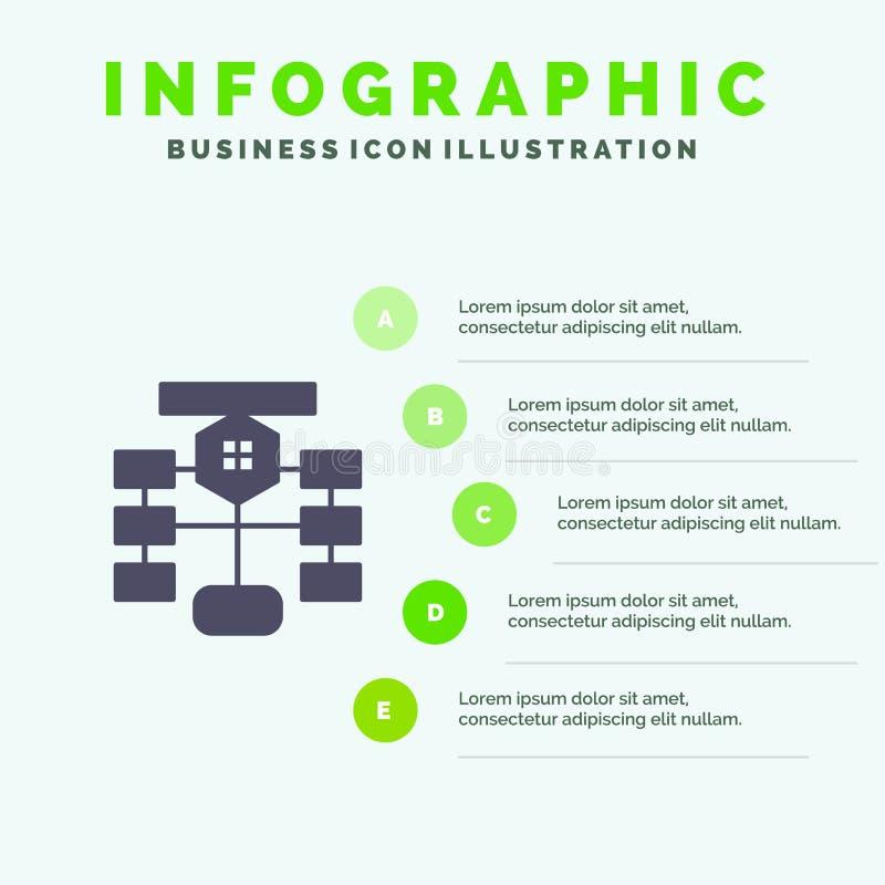 Stroomschema, Stroom, Grafiek, Gegevens, de Presentatiemalplaatje van Databaseinfographics 5 stappenpresentatie vector illustratie