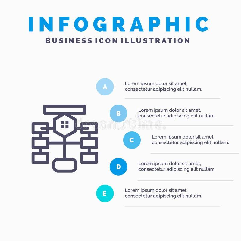 Stroomschema, Stroom, Grafiek, Gegevens, Malplaatje 5 van Database Blauw Infographics Stappen Het vectormalplaatje van het lijnpi stock illustratie