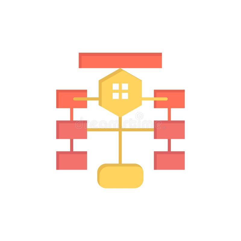Stroomschema, Stroom, Grafiek, Gegevens, Pictogram van de Database het Vlakke Kleur Het vectormalplaatje van de pictogrambanner stock illustratie