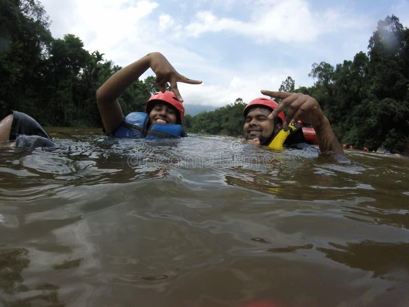 Stroomversnelling Rafting stock foto's
