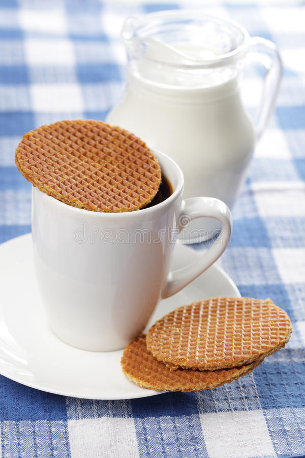 Stroopwafel on the cup stock photography