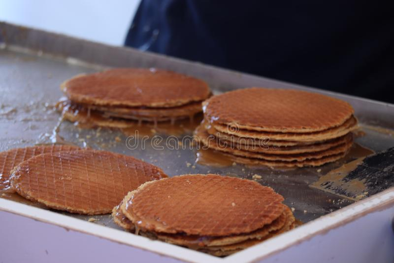 Stroopwafels n?erlandais traditionnels photos stock