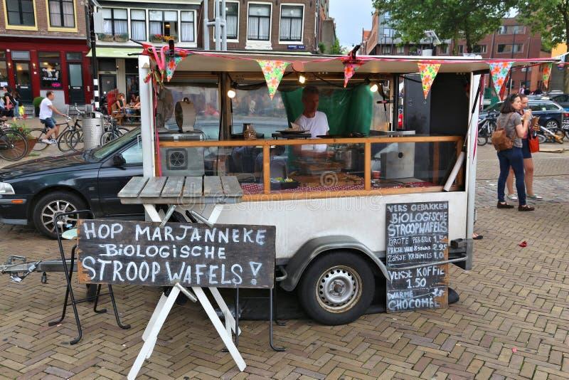 Stroopwafels-Verkäufer, Amsterdam stockfotografie