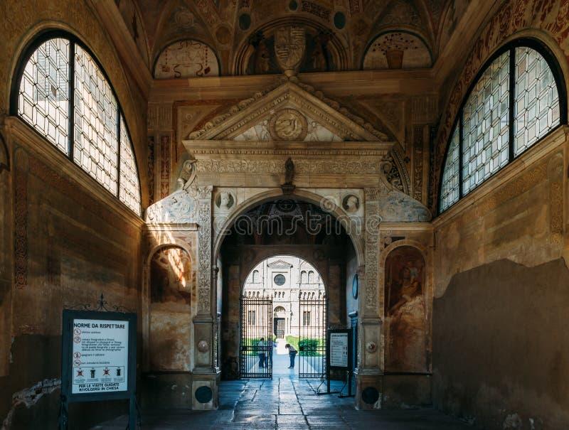 Stropować Certosa di Pavia, typowy style, lombard architektury, syndykata renesansu i gotyka i Ja budował C obraz royalty free