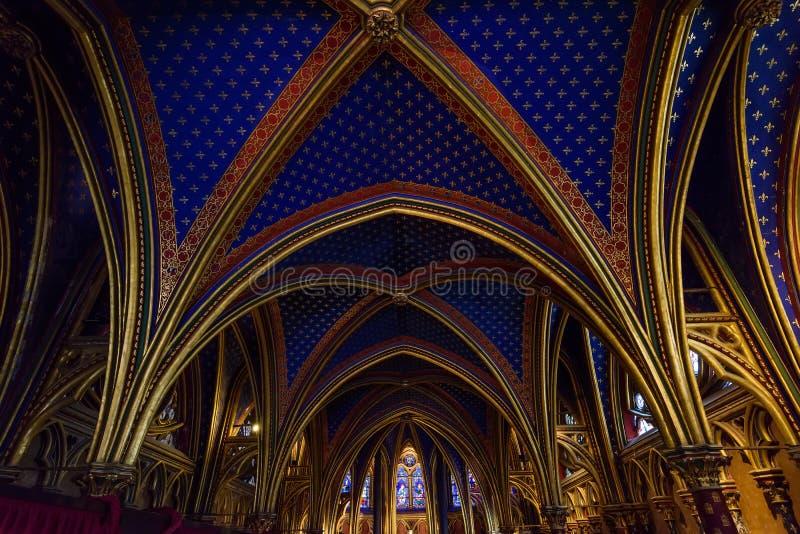 Stropować Niska kaplica w Sainte-Chapelle w Paryż, Francja obraz stock