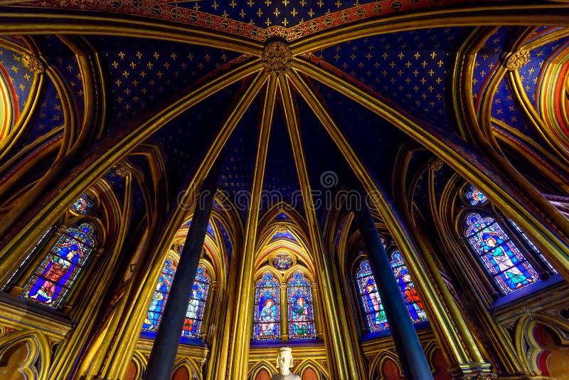 Stropować Niska kaplica w Sainte-Chapelle w Paryż, Francja zdjęcia stock