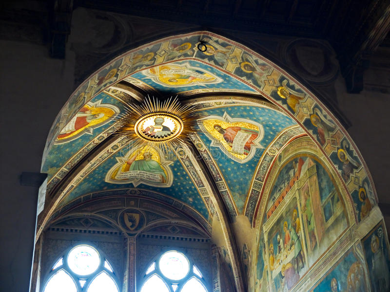 Stropować Rinuccini kaplica w Bazylice Di Santa Croce. Florencja, Włochy zdjęcia royalty free