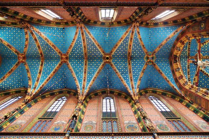Stropować St Maryjna bazylika w Krakow obraz stock