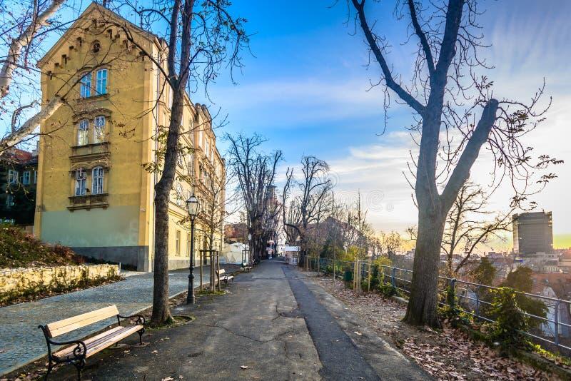 Strossmayer promenad i Zagreb, Kroatien royaltyfri bild
