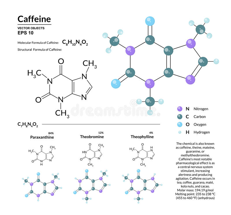 Structural chemical molecular formula and model of caffeine. Atoms are represented as spheres with color coding. Isolated on background. 2d or 3d visualization royalty free illustration